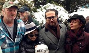 Yoko Ono, Sean Lennon and Susan Sarandon with Dimock resident Ray Kemble