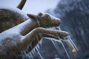 Paris snow: Picture of a frozen sculpture