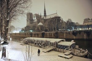 Paris snow: A snow-covered Notre-Dame cathedral