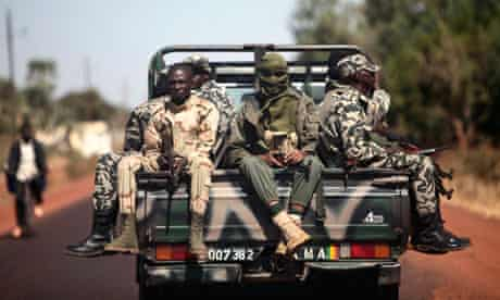 Malian soldiers on their way to Markala, north of Bamako, last week