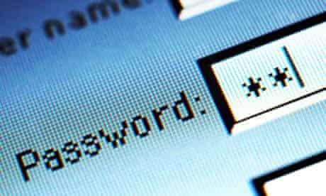 Password field on computer screen