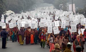 Demonstrators in Delhi march in memory of the  23-year-old who was raped and murdered, 2 Jan.