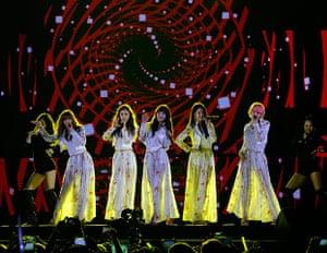 Football: South Korean girl group 4Minute perform during the Korean Golden Disk Award