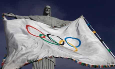 The Olympic Flag flies in Rio de Janeiro
