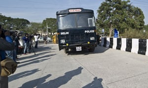 An Indian prisoner transport vehicle