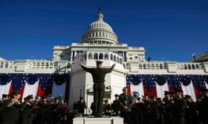 A military band rehearses on the eve of Barack Obama's inauguration at the US Capitol in Washington.