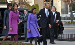 President Obama and First Lady Michelle Obama and their daughters Sasha and Malia arrive at St John's Church.