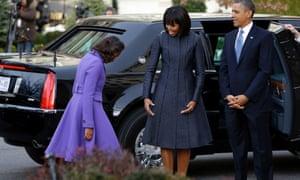 President Obama, Michelle Obama and daughter Sasha at St. John's Church in Washington.