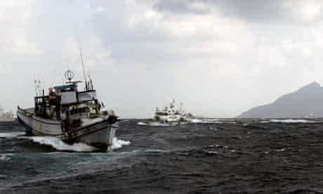 Japanese boat near Senkaku islands