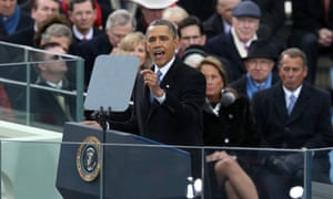 President Barack Obama gives his inauguration address during the public ceremonial inauguration at the US Capitol.