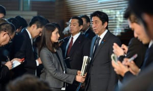 Japan's prime minister Shinzo Abe speaks to reporters this morning.