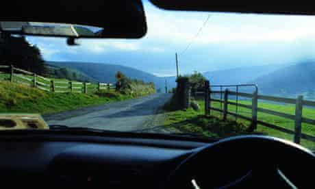 View through car windcreen in County Kerry, Ireland