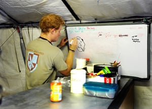 Prince Harry Afghanistan: Prince Harry draws the shift brew person