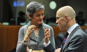 ECB board member Joerg Asmussen's chats to the Danish economy minister Margrethe Vestager earlier today.