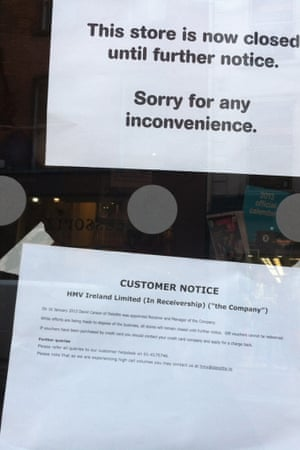 HMV's closure will only add to unemployment in Ireland, which is close to 15%.