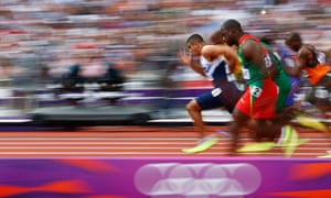 Britain's Adam Gemili leads 100m heats at the London 2012 Olympic Games at the Olympic Stadium