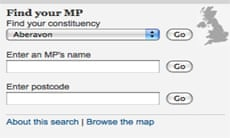 Find your MP search box