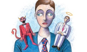 Cartoon of an angel and devil on a man's shoulders