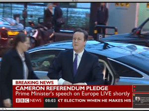 David Cameron arriving for his Europe speech