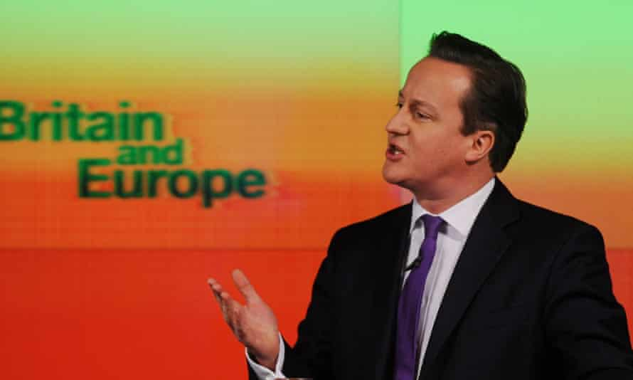 David Cameron delivering his speech on Europe.