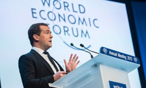 Russian PM Dmitry Medvedev speaks at Davos