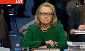 Secretary Clinton prepares to testify before the Senate, in a screen grab from CNN.