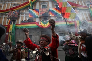 24 hours: La Paz, Bolivia: Native priests gather to listen to president Evo Morales