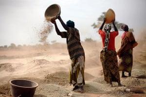 24 hours: Segou, Mali: Women sift wheat in a field