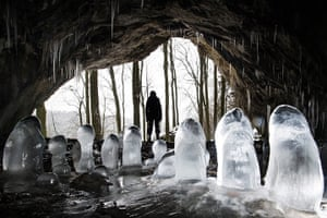24 hours: Muggendorf, Germany: Ice stalagmites in Oswald Cave