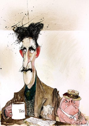 Orwell by Steadman: George Orwell and a pig