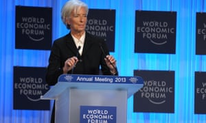 IMF head Christine Lagarde gives her speech to a packed out hall in Davos