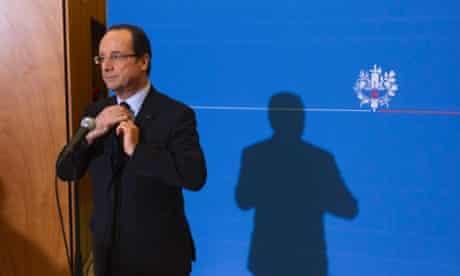 French president Francois Hollande in Grenoble yesterday.