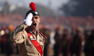A member of the National Cadet Corps gives orders during a rehearsal for the Republic Day parade in Jammu, India, which is celebrated on 26 January.