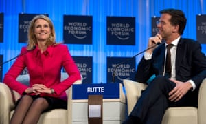 Dutch Prime Minister Mark Rutte and his Danish counterpart Helle Thorning-Schmidt in Davos.