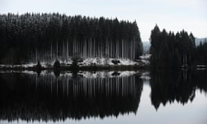 Another light fall of snow has transformed the landscape with a black and white effect at Kielder Water in Northumberland.