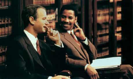 Denzel Washington with Tom Hanks in Philadelphia.