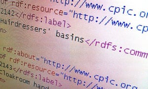 The semantic web: some markup code showing built-in metadata