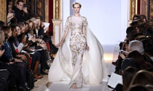 A beautiful example of haute couture in Paris at its elegant best: A model presents a creation by Lebanese designer Zuhair Murad. Photograph: Pierre Verdy/AFP/Getty Images