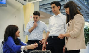 Labour leader Ed Miliband, second right, shadow health minister Liz Kendall and shadow health secretary Andy Burnham, second left, meet caner patient Heather Murphy at the Macmillan Cancer Centre in London.