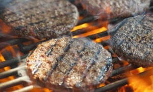 Burgers on a barbecue