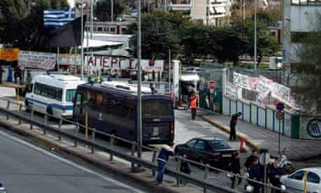 Striking metro workers in Greece