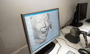Computer showing process for making chocolate portraits