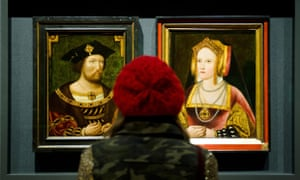 A woman looks at portraits of Britain's King Henry VIII and Catherine of Aragon, displayed together for the first time in nearly 500 years, at the National Portrait Gallery in London. Discovered in Lambeth Palace, the portrait of Catherine of Aragon had been painted over with a picture of the King's last wife Catherine Parr but experts suspected that there may be more to the picture due to similarities with other known paintings of Catherine of Aragon.  After work by the National Portrait Gallery's restoration team, the painting is being displayed in the Henry and Catherine Reunited exhibition from today.