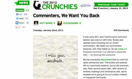 TechCrunch appeal to commenters
