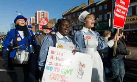 Nurses protest against the proposed cuts at Lewisham hospital