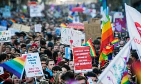 Pro-gay marriage march in Paris