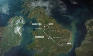 A map of phase one and phase two of the proposed HS2 high-speed rail project.