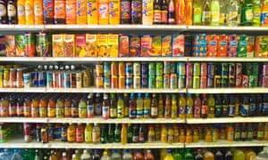 shelves of soft drinks