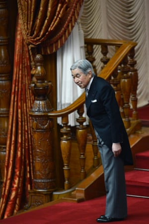 Emperor Akihito nods to Japanese MPs at the opening of the ordinary diet session at the National Diet in Tokyo, Japan.
