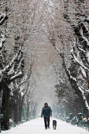 A man walks with his dog in a snow-covered park during snowfall in Bucharest, Romania.